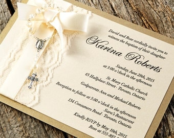 Sweet & Fair - Baptism invitation with rosary
