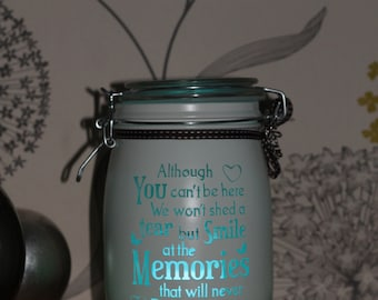 Personalised Glass Jar Love-Lite Jar - Although you can't be here memory jar