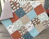 Woodland baby quilt, indian summer, woodland animals, deer, bears, fish, camping, fishing, blue-gray-aqua-orange