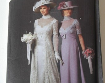 EDWARDIAN Plus Size Bridal Gown Pattern Simplicity 9716 in two variations.Reproduction bridal gown Pattern. Vintage wedding dress pattern.