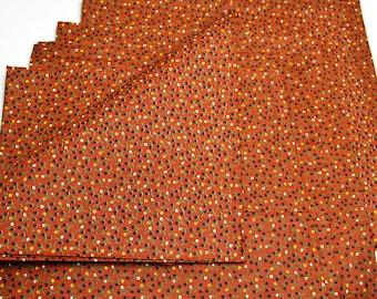 Napkins Floral Pattern on Brown Cotton Set of 6