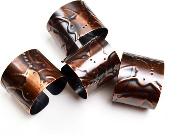 Napkin Rings Copper Embossed Butterfly Pattern Set of 4