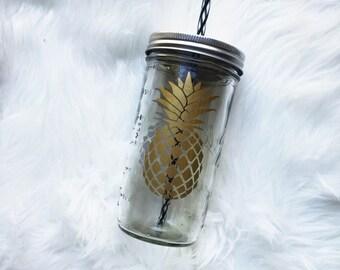 Pineapple Mason Jar Tumbler, Mason Jar Tumbler, Wedding Tumbler, Personalized Tumbler