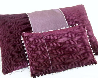 Pair of damson scatter cushions with beautiful crystal and pearl bead edging