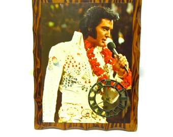 Vintage Decoupage Elvis Clock 1970s