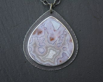 Reserved>>>>Mexican Tube Agate, Sterling Silver Pendant