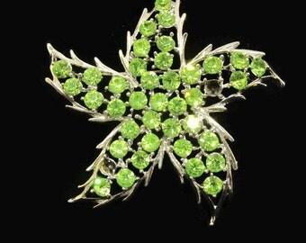Vintage Rhinestone Starfish Brooch Pin - green, silver-tone - 1960s - jewelry-making, nautical, whimsical, retro, star, costume jewelry