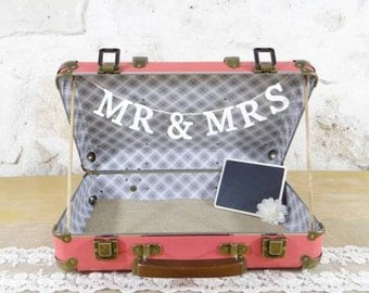 valise urne de mariage corail - wedding suitcase card holder red coral - wedding box card holder - personalized