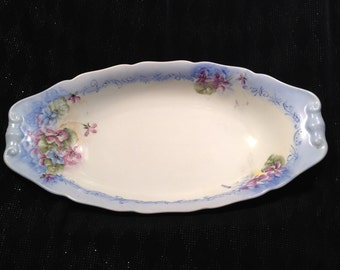 CM Hutschenreuther Hoenberg Germany Signed, Hand-Painted Serving Dish, White Porcelain with Blue and Pink Violets.