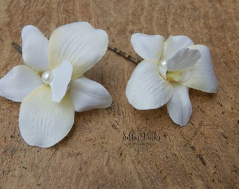 Set of Two Orchid Hair Pins, Ivory Hair Accessories, Orchid Hair Flowers, Floral Hair Pins, Hair Accessories, Pearl & Orchid Hair Clip