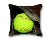 Softball Pillow Cover-Sports Toss Pillow-Athletic Decor-14x14/16x16/18x18/14x20/20x20/26x26-Sports Decor-Florescent Yellow-Red-Black Pillow