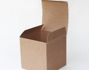 50 4x4x4 pinstripe kraft box, kraft gift box, mug box, 4x4x4 favor box, natural kraft box, favor box, bridal shower/wedding favor box