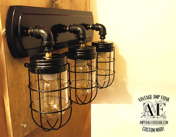 Oil Rubbed Bronze Ceiling Light And Bathroom Wall Vanity: Cage Lights Industrial Pipe Bathroom Vanity Bar By