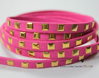 7mm Gold Buds Flat Magenta Suede Leather-1 Yard RSL1027
