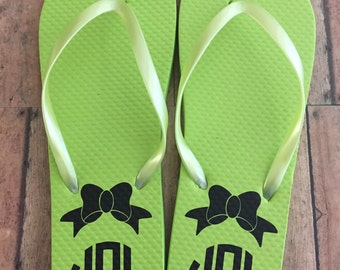 Personalized Monogram Flip Flops! Choose Color of Flip Flops & Monogram Color!