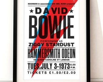 David Bowie concert poster, David Bowie art print, music inspired print, concert print, Ziggy Stardust, David Bowie, vintage Bowie poster
