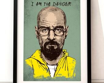 Breaking Bad portrait print, Breaking Bad inspired print, TV art, Breaking Bad art, Breaking Bad, Breaking Bad poster, Walter White