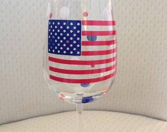 Flag - American Flag Wine Glass - Flag Wine Glass - Red, White, Blue Wine Glass