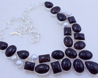 free shipping f-102 Black Onyx - Pearl .925 Silver handmade Necklace jewelery