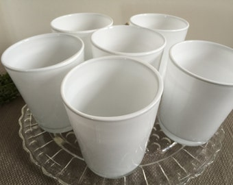 Glass Tumblers - Set of Six  -  Milky White with Clear Bases