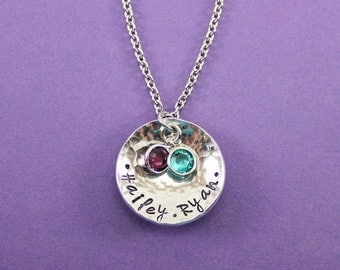 Personalized Mommy Necklace 2 Names and Birthstones - Grandma Necklace - Mother Necklace - Mommy Jewelry - Grandmother - Engraved Necklace