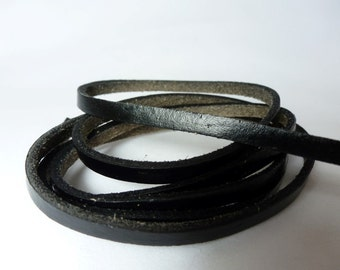 1m x Genuine Black Leather Lace 5mm x 2mm / Flat Leather