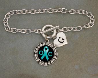 Custom Initial Ovarian Cancer Awareness Bracelet