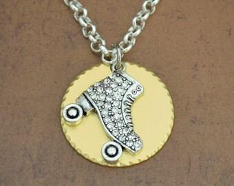 Roller Skating Gold Disk Necklace