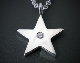 Sterling silver star necklace star pendant two tone star swarovski gemstone star necklace pendant in sterling silver sterling silver star necklace sterling silver aloadofball Choice Image