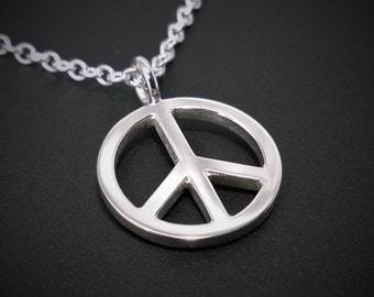 Peace Sign Necklace Pendant In Sterling Silver - Peace Sign Pendant, Sterling Silver Peace Sign Necklace Charm, Sterling Peace Sign Necklace