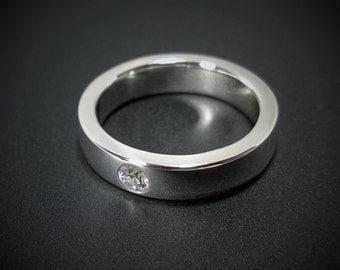 Sterling Silver Swarovski Gemstone Band - Sterling Silver Swarovski Band, Cubic Zirconia Band, Cz Wedding Band, Cz Wedding Ring