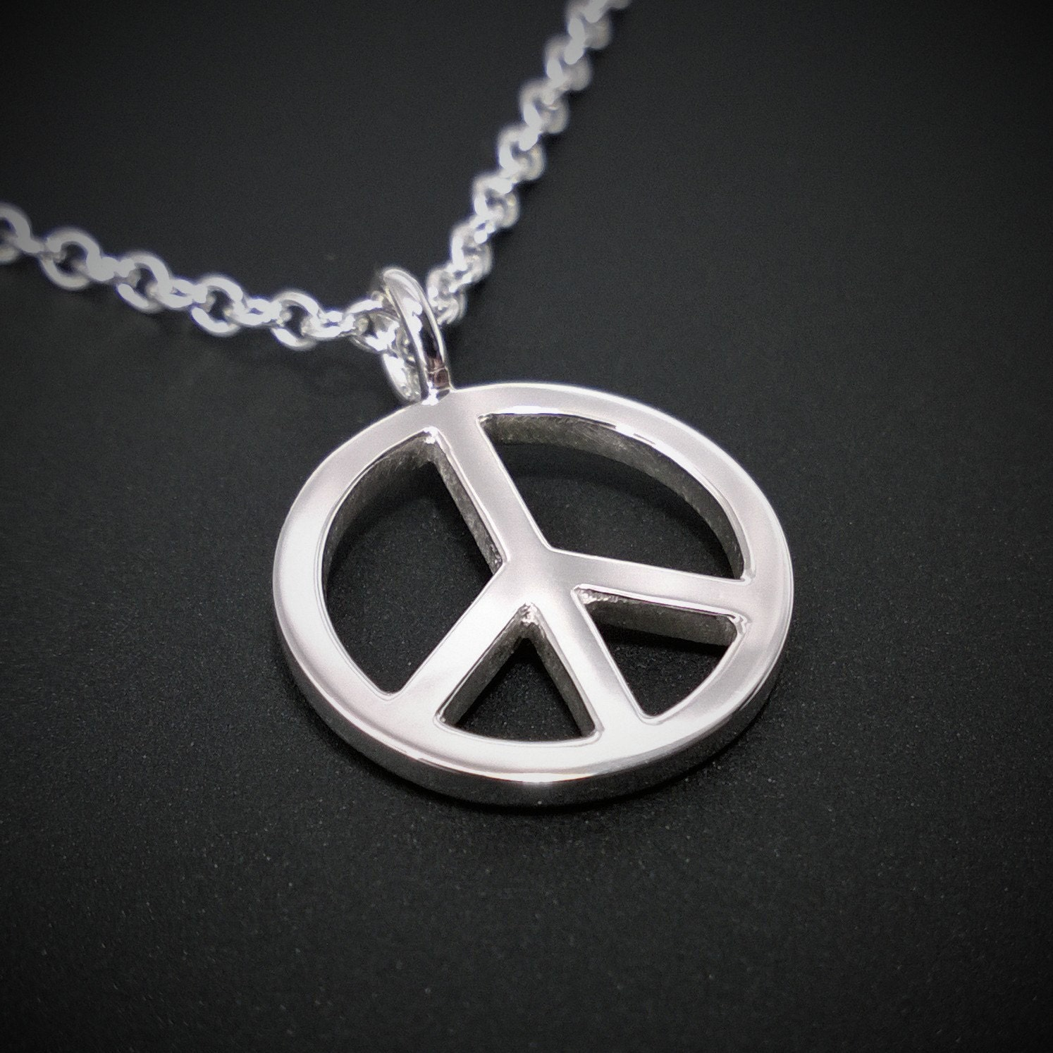 Peace sign necklace pendant in sterling silver peace sign zoom buycottarizona Gallery