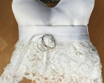White Satin Ring Bearer Pillow