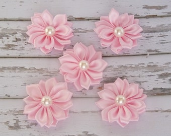 PINK RIBBON Flowers, Satin Pearl Flowers, DIY Headband Supplies, Wholesale Flowers, Hair Clip Supplies