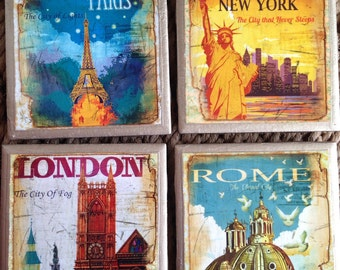 COASTERS!! World Traveler set of coasters with gold trim