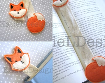 ITH Fox Bookmark Machine Embroidery Design Pattern Download In The Hoop Felt Ribbon Modern Woodland Animal Easy
