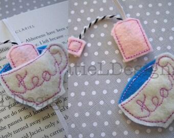 ITH Tea Cup Bookmark Embroidery Machine Design In The Hoop Tea Bag Elastic Felt Modern Fun Feltie