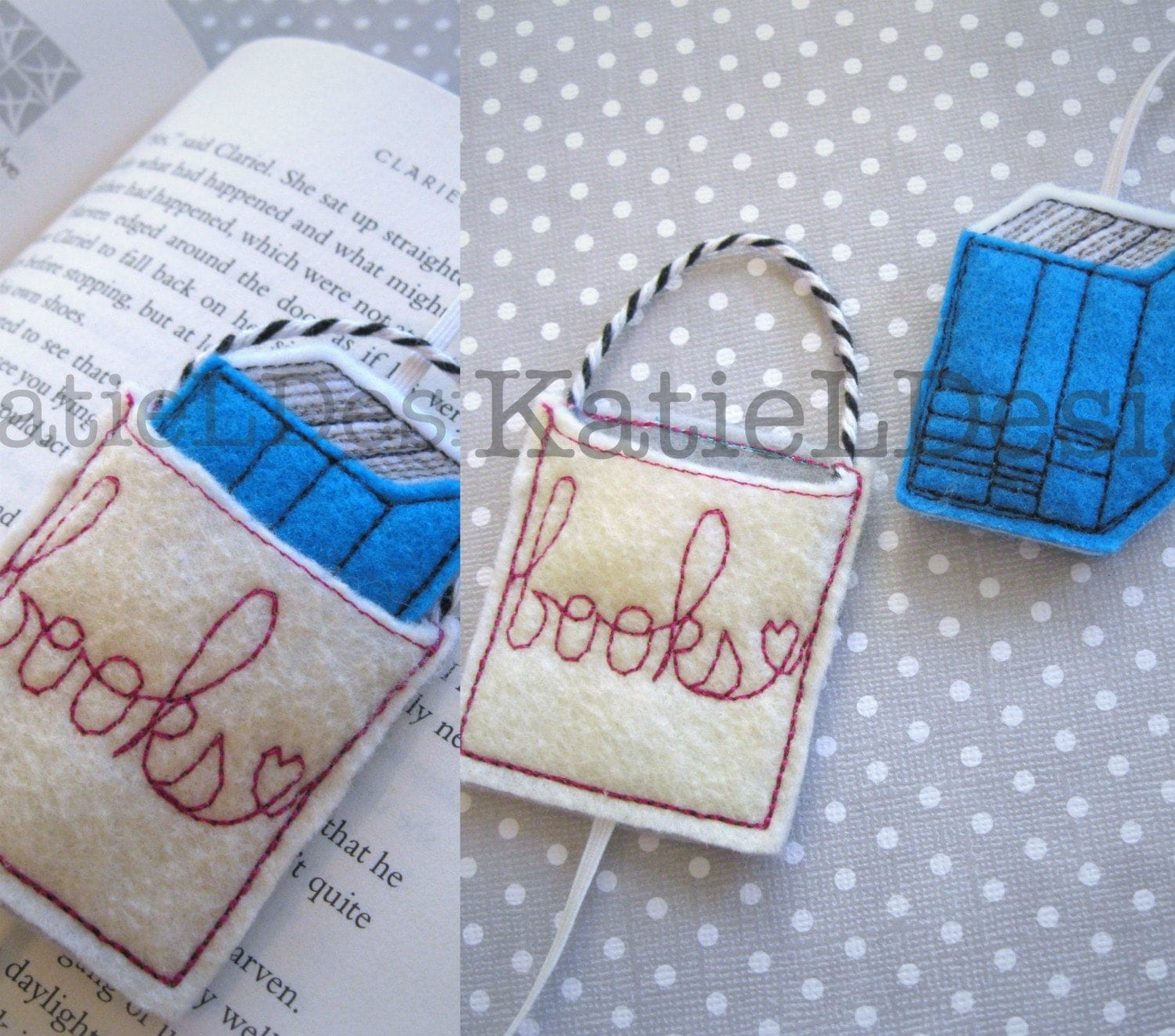 Ith bookmark book bag with books embroidery machine design