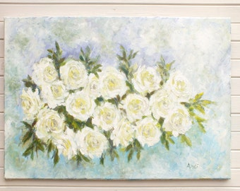 Original impressionist painting shabby chic cream cabbage roses