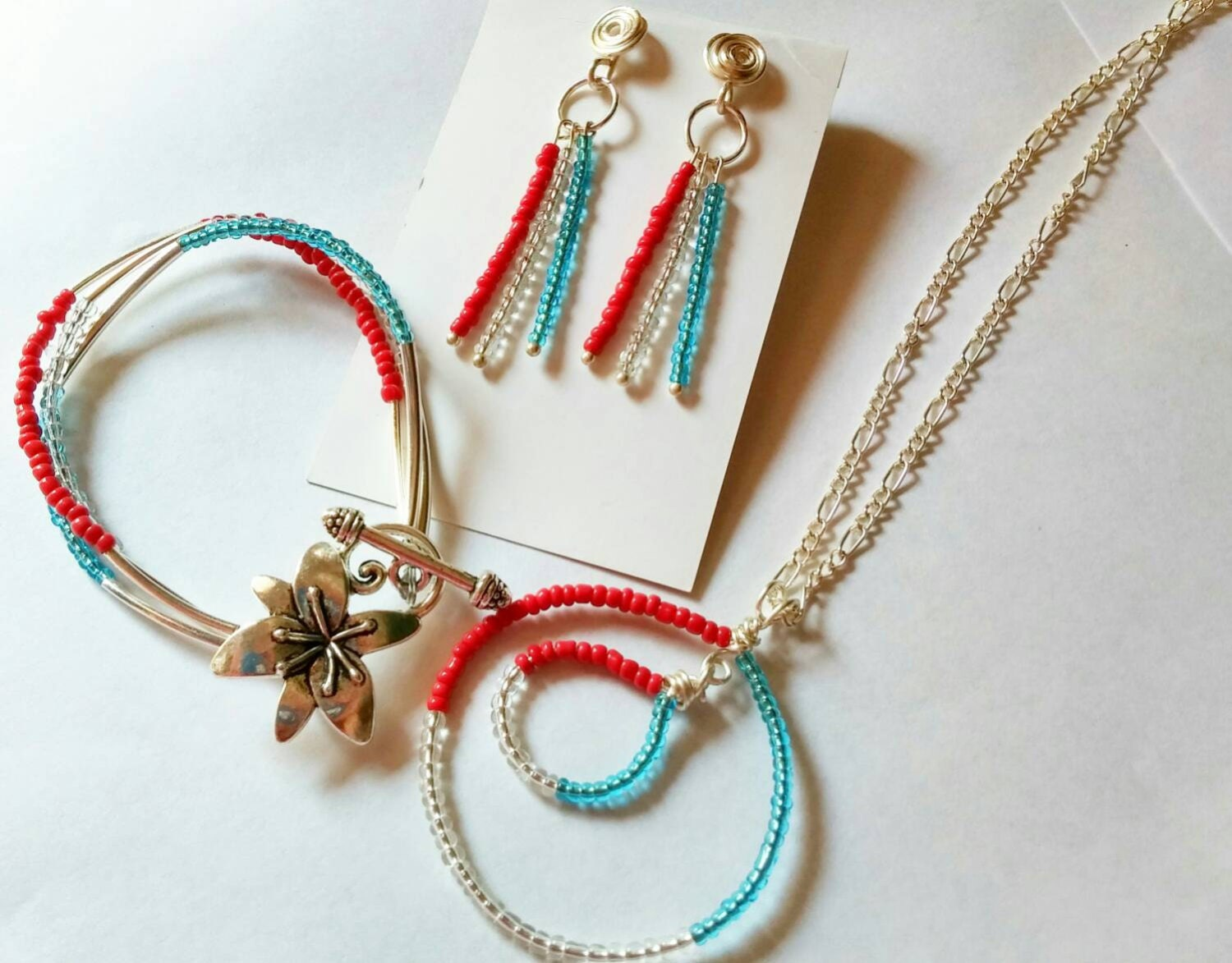 patriotic jewelry setred white and blue set by