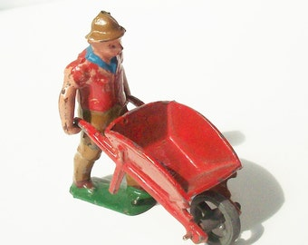 Vintage Wheelbarrow Guy / Maker unknown / Farmer with sleeves pushed up /  Miniature Landscape