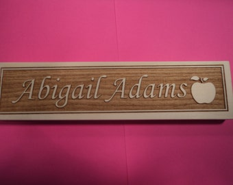 Personalized engraved wooden name plate for office , school, teacher or home .(Nc_apple_5b)