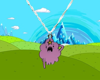 Adventure Time silver necklace with Lumpy Space Princess LSP charm  Free UK Postage!