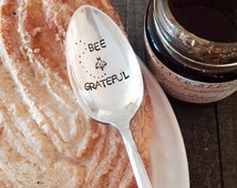 Bee Grateful vintage hand stamped tea spoon created by The Paper Spoon - thank you gift, grateful gift, honey spoon, gifts under 25, bees