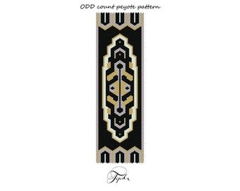 peyote pattern black Art Deco bracelet