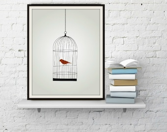 Caged Bird - Black, Red, White, Red Bird, Cage, Trapped, Free, Freedom, Lines, Symbolism, Trapped, Trap, Wall Art, Print