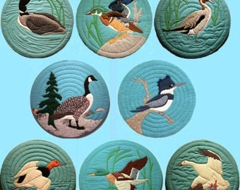 Set of 8 Water Birds - Quilted Wall Hangings