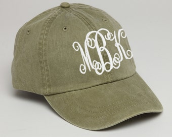 Khaki Monogrammed Baseball Cap for Ladies-Pigment Dyed Hat, Interlocking Script Monogram-Custom Embroidery, Personalized Baseball Hat