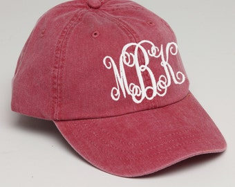 Nautical Red Monogrammed Baseball Cap for Ladies-Pigment Dyed Hat. Interlocking Script Monogram-Custom Embroidery, Personalized Baseball Hat