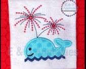 Whale Fireworks Applique Design - Embroidery Applique - 4th of July Applique